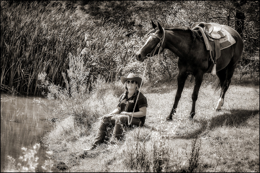 Andy & horses 015 B&W