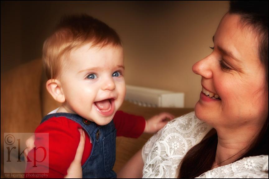 Mum and happy baby