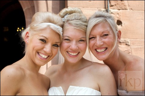 Bride, Mum and sister at Peckforton Castle