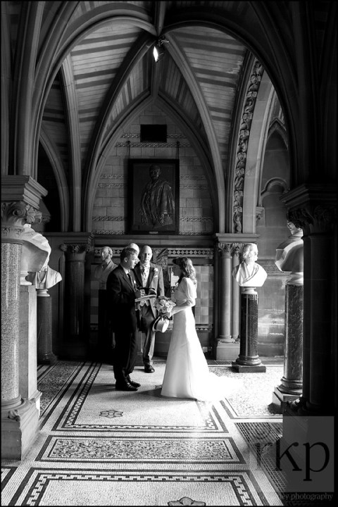 Registrar checking details with Bride, Manchester Town Hall