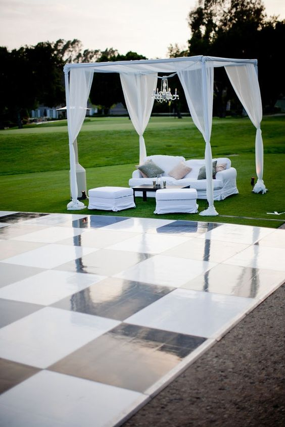 outdoor black & white dance floor for wedding and pipe and drape wedding booth