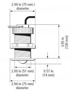 Raymarine ST60+ Plus Through hull Retractable snelheid transducer afmeting E26031