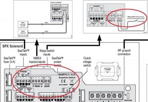 Raymarine spx SOL stuurautomaat E12205 aansluiten sleep schakelaar