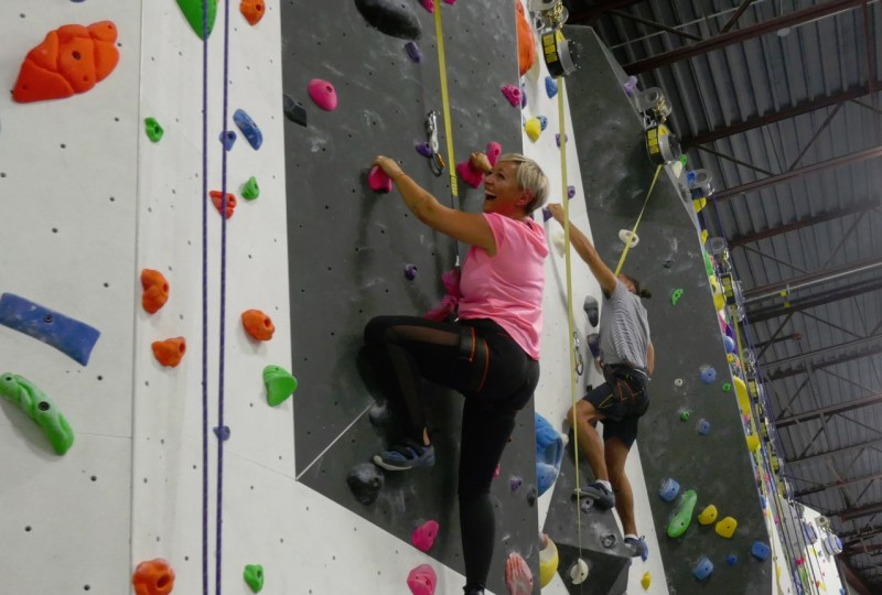 Casie stewart at the climbing gym in Markham