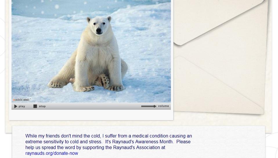 Polar Bear Card - Raynaud's Awareness Month