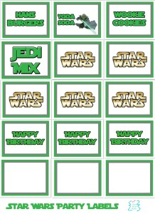 Star wars food party labels