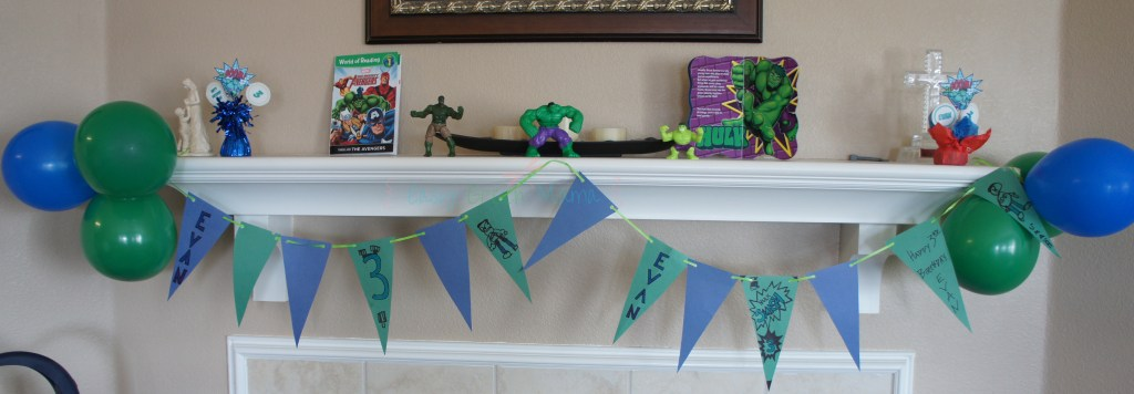 diy hulk superhero party banner