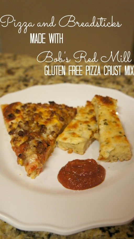 Gluten Free Pizza & Garlic Cheesy Bread made with Bob's Red Mill Pizza Crust Mix