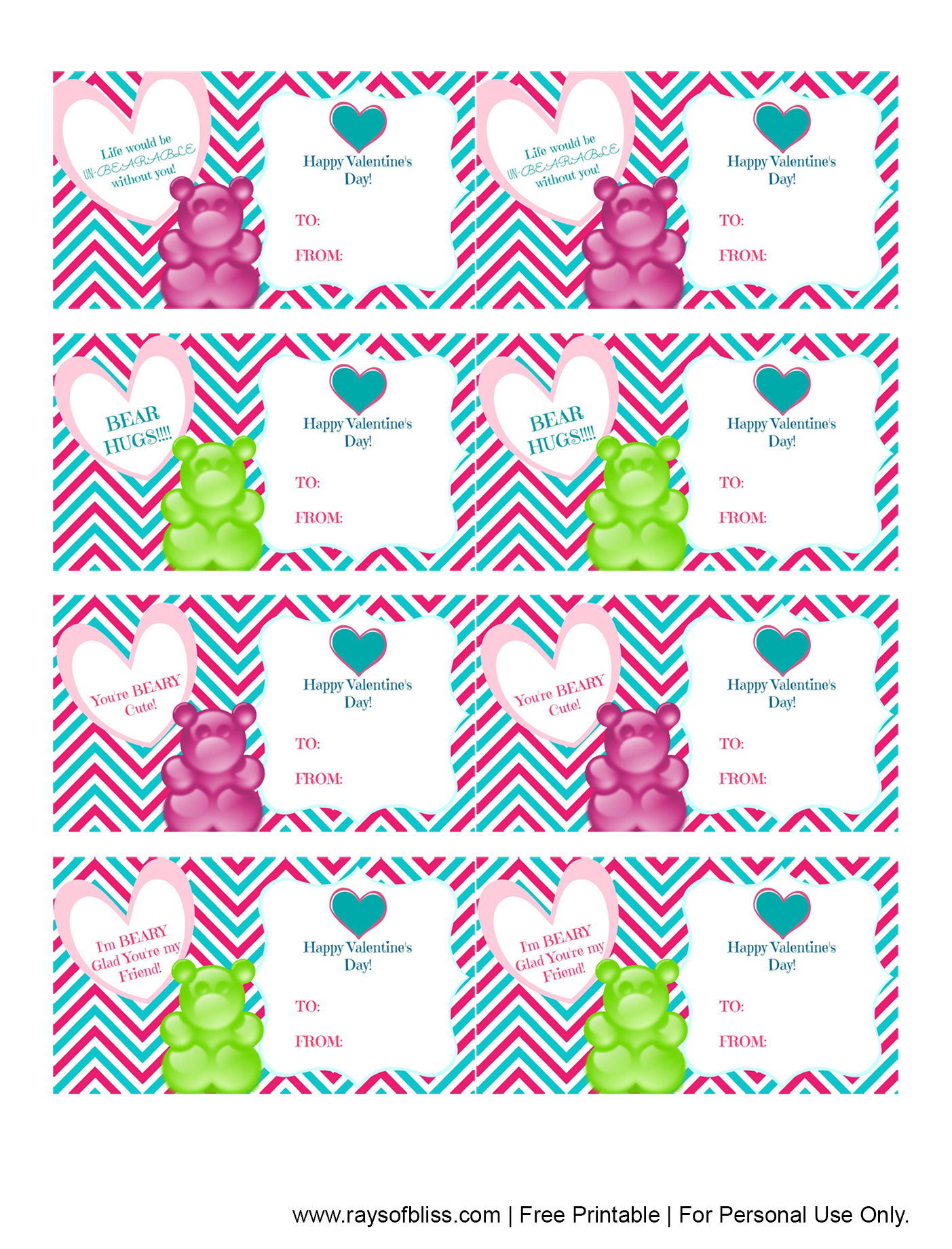 photo regarding Gummy Bear Printable called No cost Printable Gummy Endure Valentines Working day Playing cards - Rays of Bliss