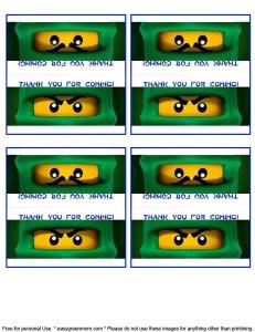 Free Printable Lego Ninjago Party Favor Label