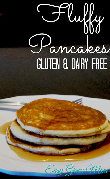Fluff Gluten Free and Dairy Free Pancakes. #recipe #glutenfree #dairyfree
