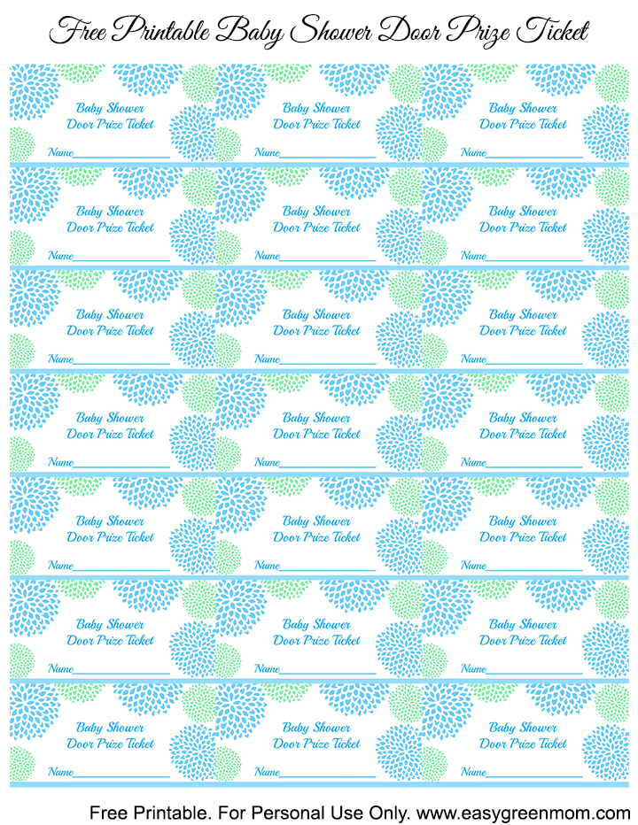 blue and green baby shower door prize tickets free printable