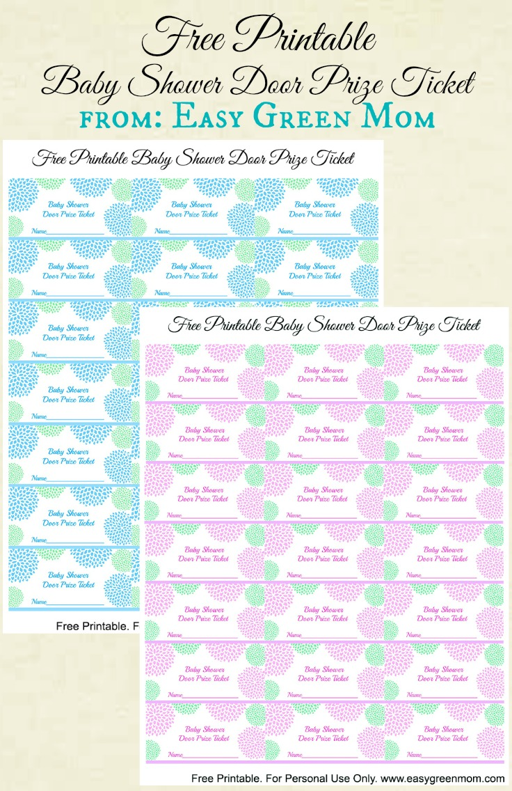 Free printable baby shower door prize tickets for boy or girl free printable baby shower door prize tickets from rays of bliss pronofoot35fo Images