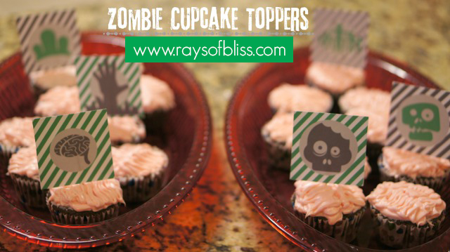 Zombie Cupcake Topper Free Printable from Rays of Bliss Blog.