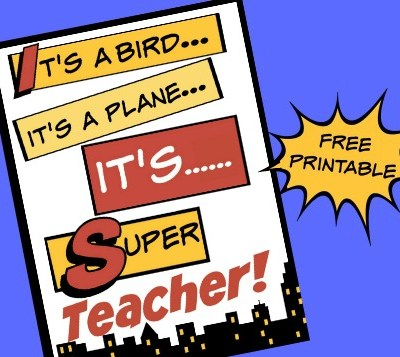 Superhero Teacher Card Free Printable
