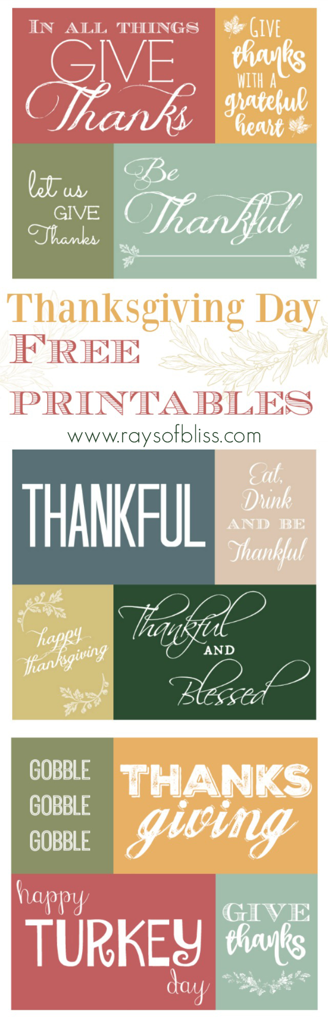 Thanksgiving Day Free Printable -Thankful Quotes - Rays of Bliss