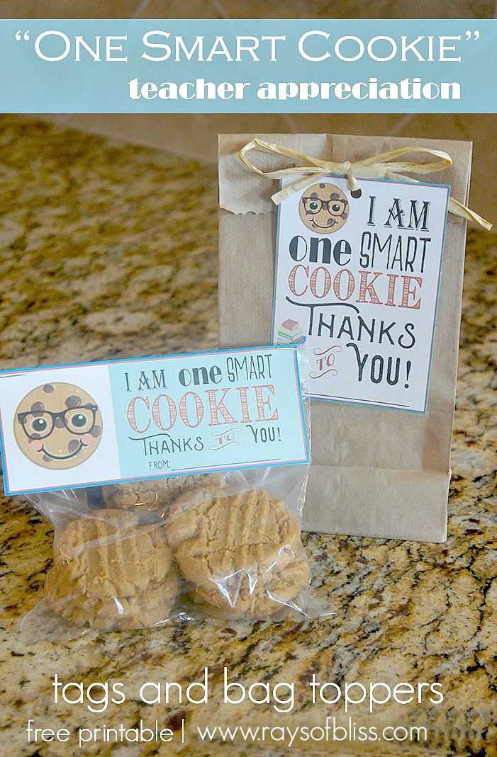 One Smart Cookie Tag and Bag Topper Free Printable ~ Teacher Appreciation