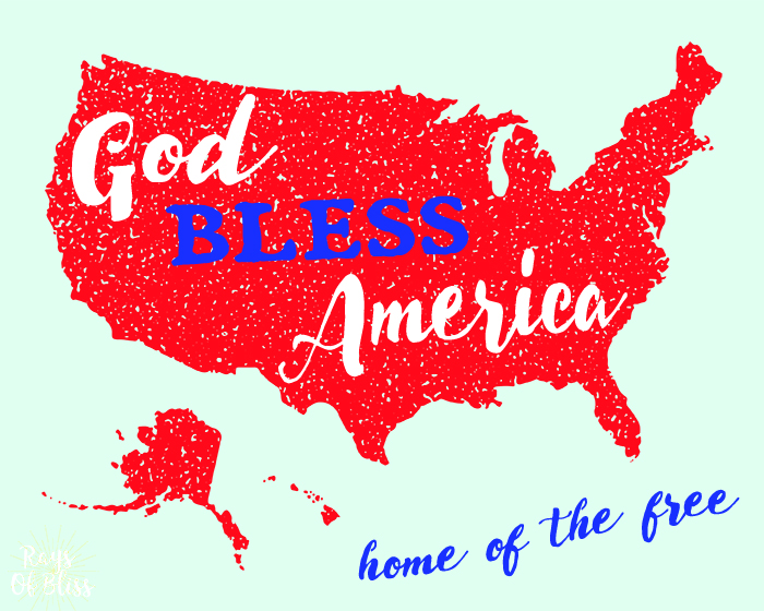 Patriotic Free Printable ~ God Bless America Home of the Free