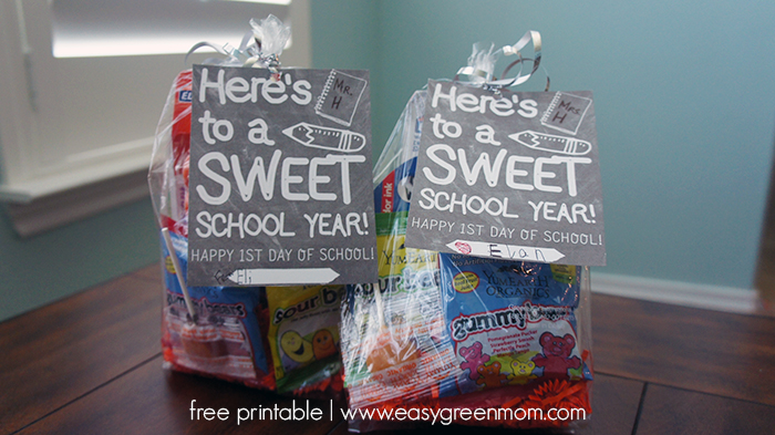 First Day School Teacher Gift Free Printable ~ Here's to a SWEET School Year!