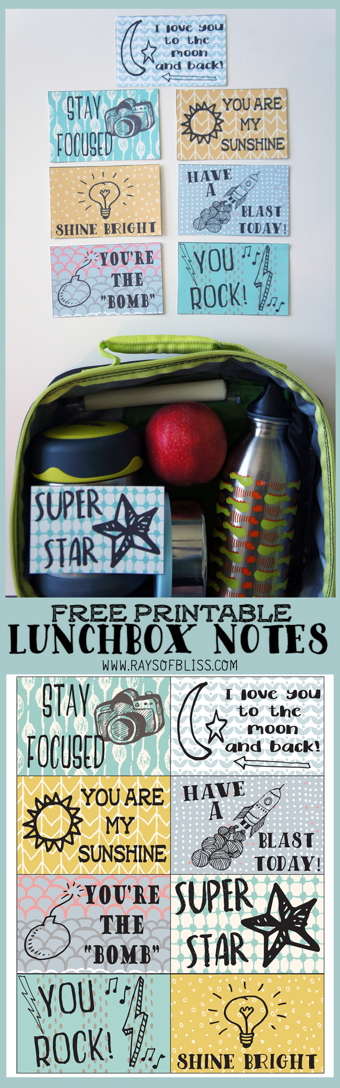 School lunchbox Notes Free Printable from Rays of Bliss