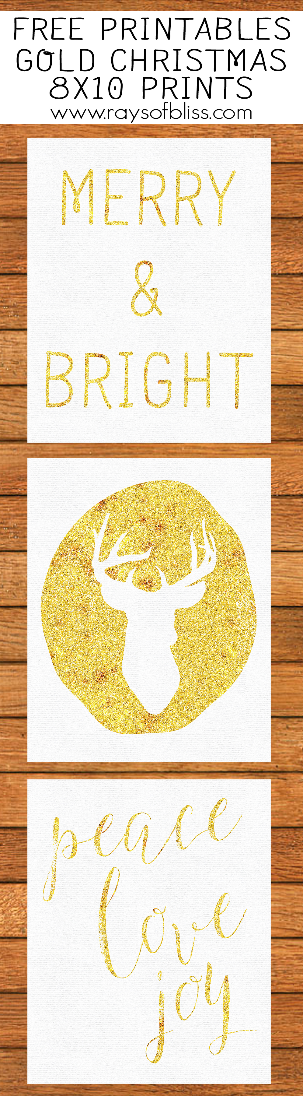 Gold Christmas Art Printables. Set of 3.