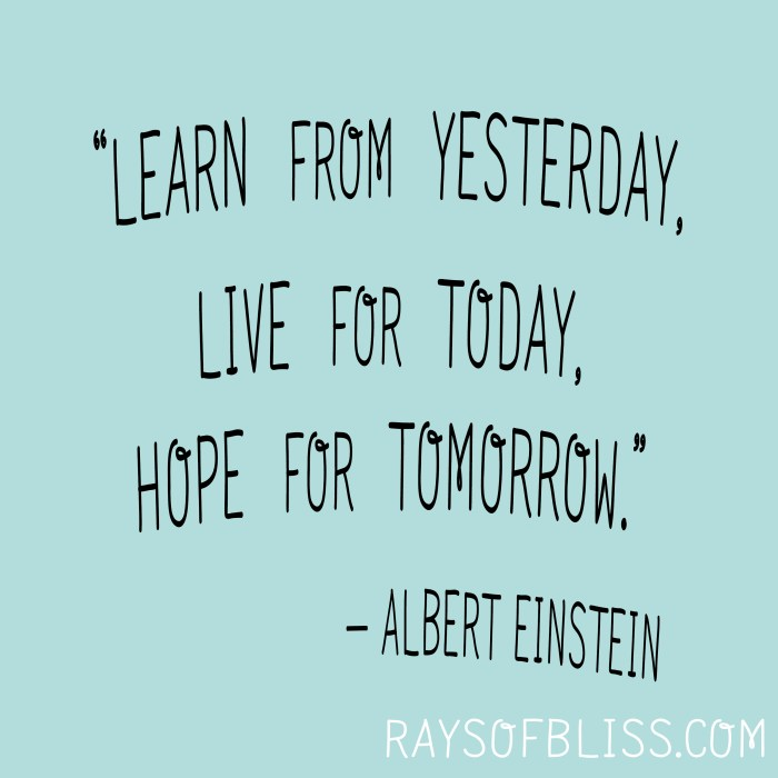 """Learn from yesterday, live for today, hope for tomorrow."" -Albert Einstein. Inspirational Quote"