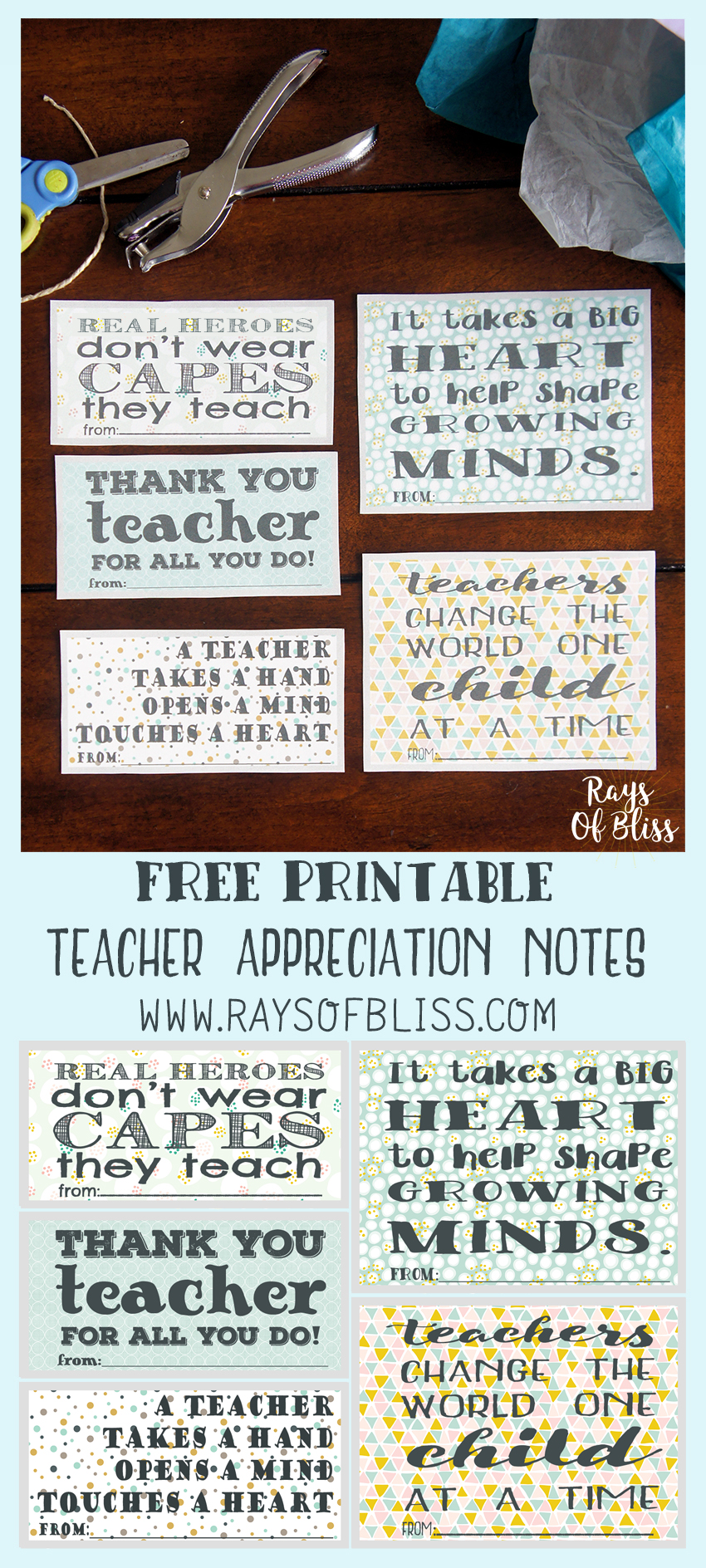 Teacher Appreciation Notes Free Printable Set of 5 - Rays of Bliss