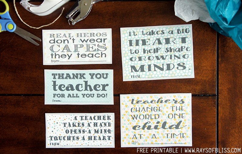 Finest Teacher Appreciation Notes Free Printable Set of 5 - Rays of Bliss EM41