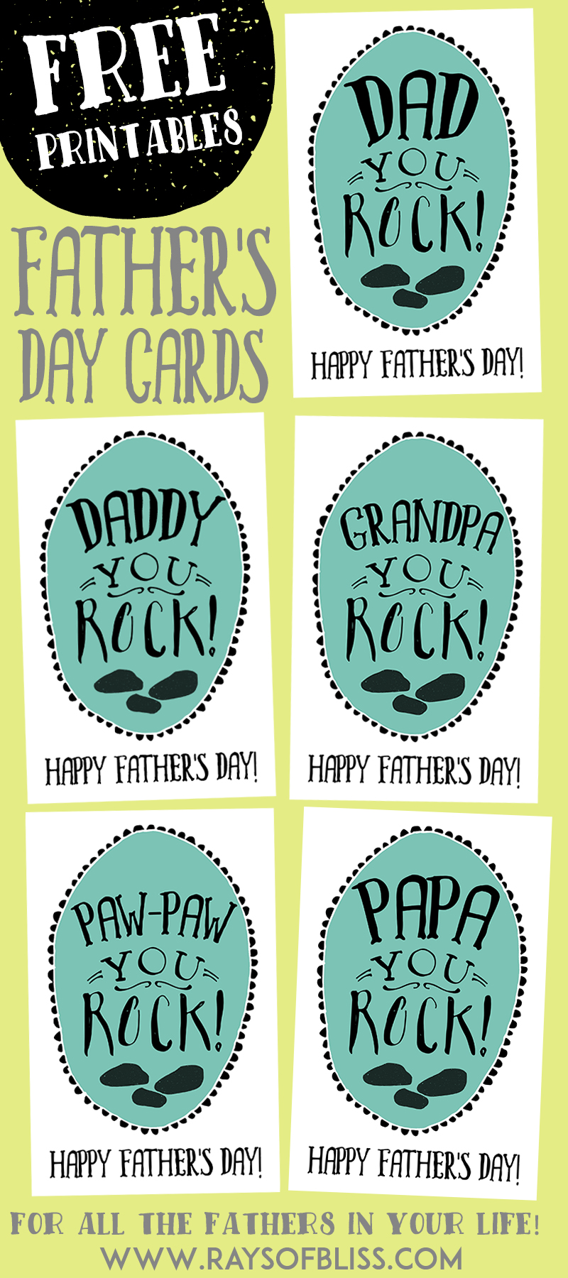 You Rock Father's Day Cards - Free Printables