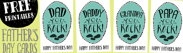 You Rock Father's Day Cards Free Printable