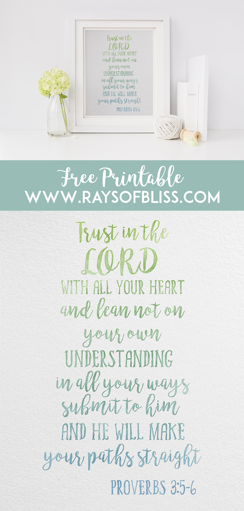 Bible Verse Free Printable Proverbs 3:5-6 from Rays of Bliss