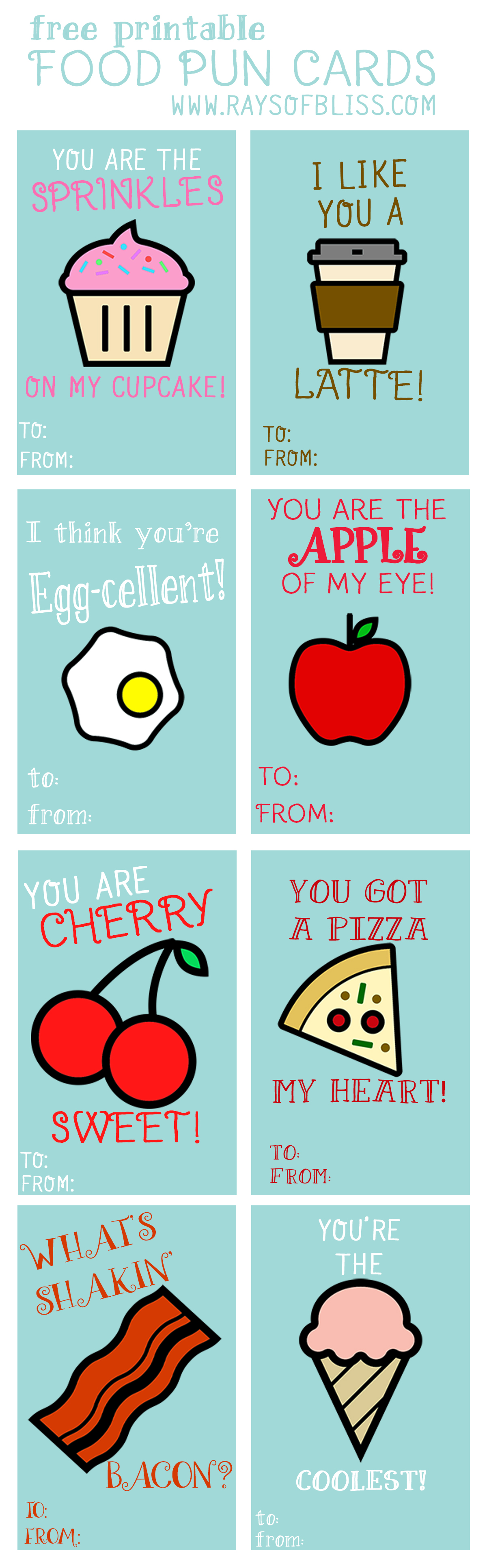Food Pun Cards Free Printable - Rays of Bliss
