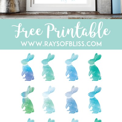 Happy Easter Bunny Watercolor ~ Easter Free Printable