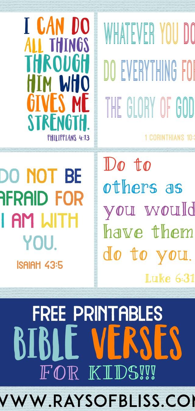 Kids Bible Verses Free Printables – Set of 4 Free Printalbe Bible Verse