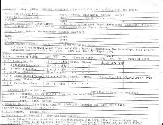 Isakson Family History Form