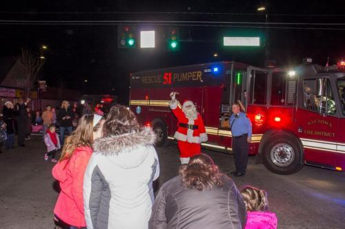 Santa arrives via firetruck