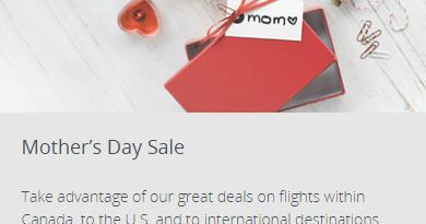 Air Canada: Mother's Day Sale (Book by May 11 or 15)