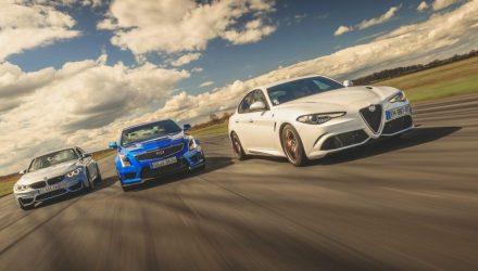 Drag Race: Alfa Romeo Giulia Q, BMW M3 Competition Pack, Cadillc ATS-V,