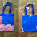Pittsburgh Houses Tote Bag, Red and White on Blue