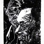 Javier Solana woodcut