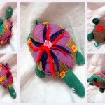 Turtle: Purple + Red Flower, Gold Underbelly