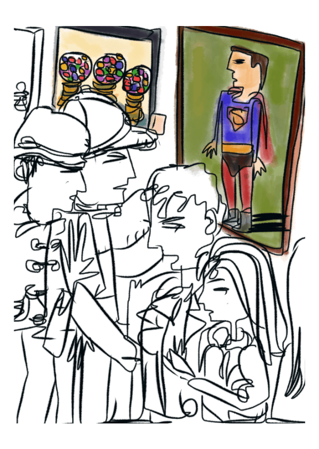 a sketch from De Young museum lobby