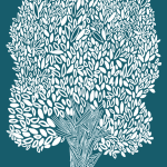 Tree drawing, white on dark teal