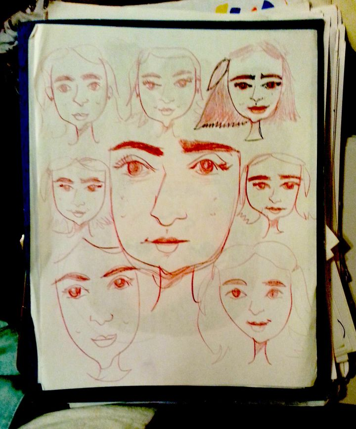 Turkish girl face sketch