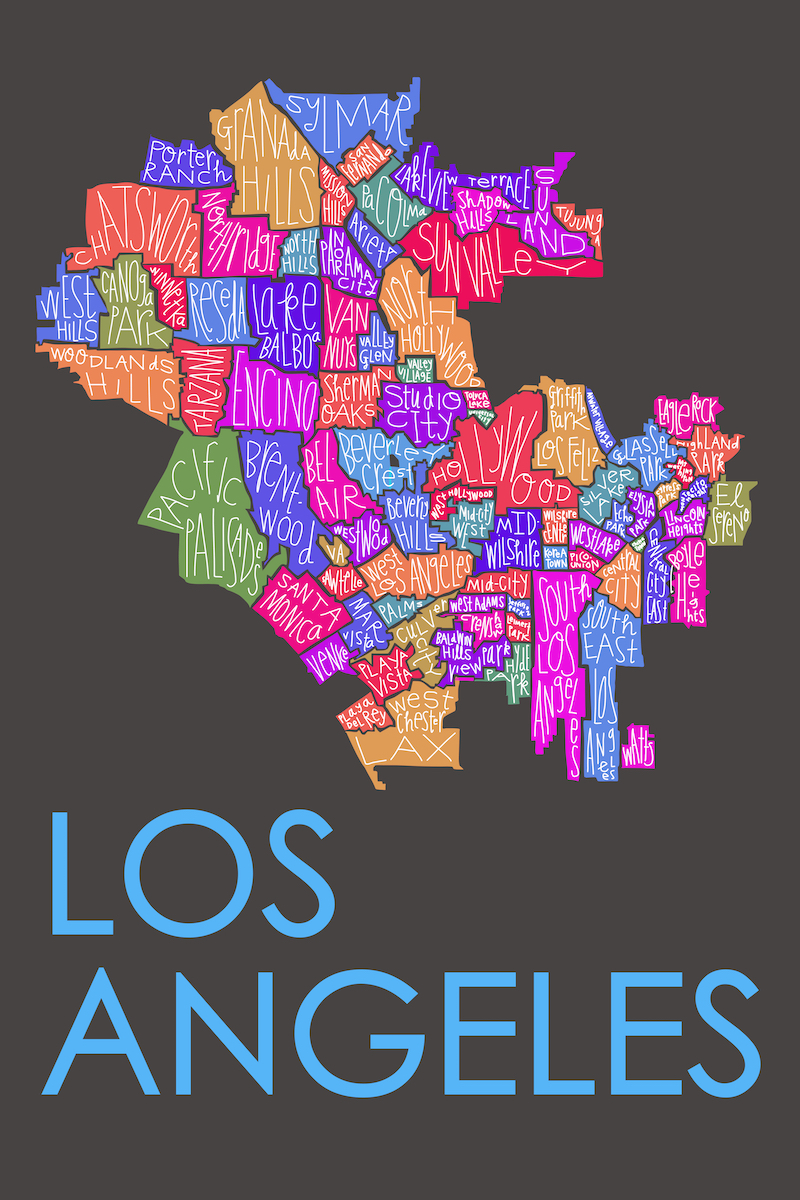 Los Angeles Neighborhood Map Razblint - Los angeles va map