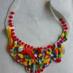 Felt Flower Petal bib necklace