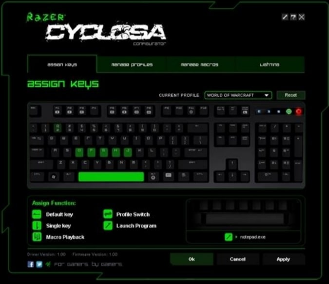 Configuration Razer Cyclosa