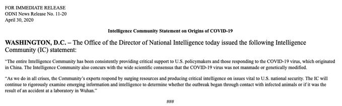 intelligence comunity on covid 19
