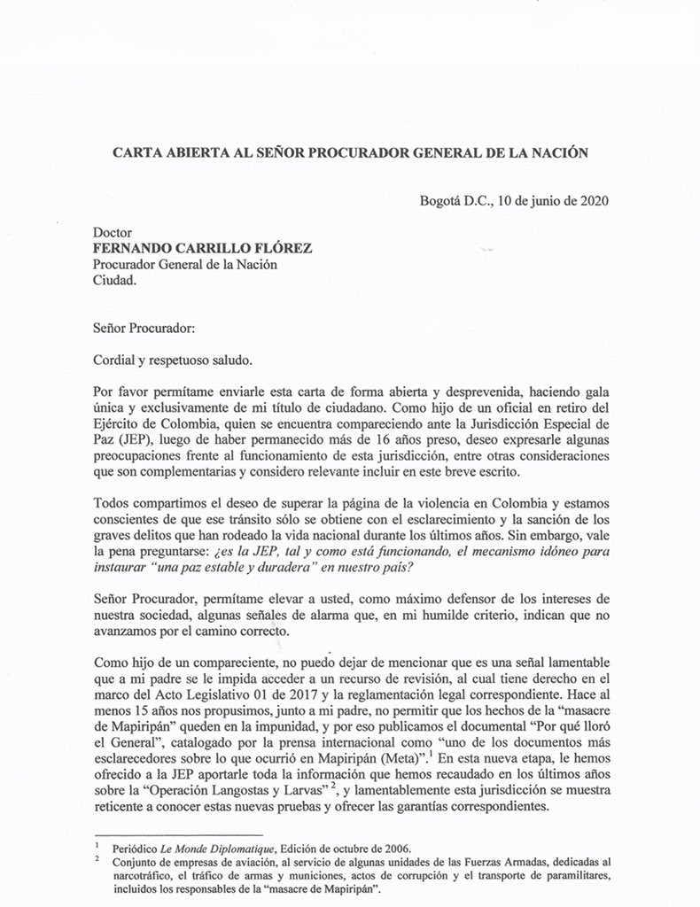 Carta abierta al Procurador 1 José Uscátegui