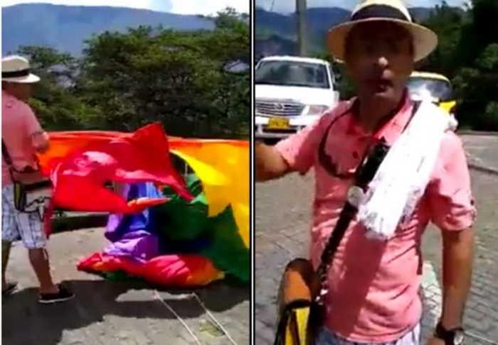 Ciudadano desmonta bandera gay en Medellín